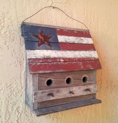 "Old Folk Art Country Bird House American Flag Iron Nails 13""(33cm) Birdhouse"