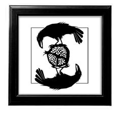 """How FUN! Great Graphics....""""Two Black Ravens Eating a Pomegranate""""  by SunGalleryandGifts"""