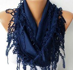 Navy  Blue Scarf  Pashmina  Scarf   Headband Necklace by fatwoman, $13.50