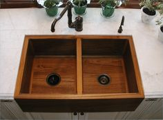 The Belfast Teak Farmhouse Sink is a unique solid teak wood kitchen sink made from sustainably sourced teak. Double Farmhouse Sink, Double Kitchen Sink, Farmhouse Sink Kitchen, New Kitchen Cabinets, Wooden Kitchen, Kitchen Sinks, Wood Sink, Wood Bath, Cuba