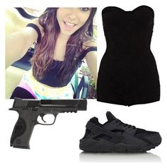 """""""Okay please dont kill me. (Description)"""" by wweajfan4life ❤ liked on Polyvore featuring Motel, NIKE, Smith & Wesson, women's clothing, women, female, woman, misses and juniors"""
