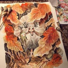 Beautiful art from ! Thanks so much to you for this beautiful gift! ❤️❤️ The art of this lady is full of graciousness, don't hesitate to take a look to her gallery! Traditional Art, Fantasy Art, Watercolor, Gallery, Illustration, Artist, Paintings, Character, Autumn