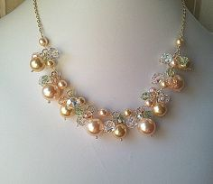 Spring Collection Gold Peach Necklace & Earrings by LaLaCrystal, $56.00