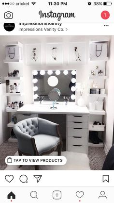 Large DIY Makeup Room Ideas, Organizer, Storage and Decoration ( Room Idea) - Makeup Room Ideas - - Dekoration Ideen - Beauty Room Vanity Room, Vanity Set Up, Teen Vanity, Ikea Vanity Table, Alex Drawer Vanity, Vanity Chairs, Vanity In Closet, Vanity Bar, Closet Desk