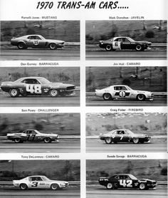 1970 Trans-Am Cars; quite a lineup of drivers too...