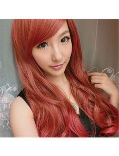 Sweet Chocolate Red Long Curls Lolita Wig