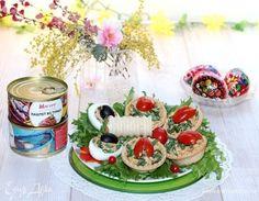 Тарталетки с паштетной массой из тунца. Ингредиенты: тарталетки, паштет, горчица дижонская