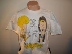 Vtg 90's MTV BEAVIS AND BUTTHEAD PEACE & LOVE SUCK Sz XL T SHIRT RARE!