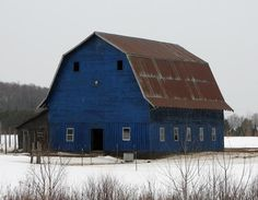 "Blue barn from the ""Daily Barn Post."""
