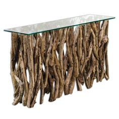 The Woodlands Console Table is made of natural teak wood crafted from its natural form into an artistic and precisely honed sculpture beneath clear glass. Driftwood Shelf, Driftwood Furniture, Driftwood Projects, Sofa Table Decor, Table Furniture, Rustic Furniture, Table Decorations, Furniture Plans, Console Cabinet