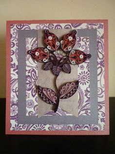 Handmade Greetings Purple Quilling Card with Amazing Contour Flower (Father's Day, Birthday, Anniversary)