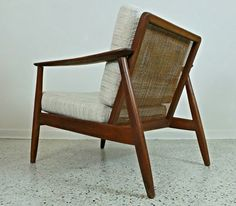 Mid Century Danish Modern Cane Back DUX Lounge Chair Tweed Upholstery