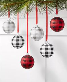 Holiday Lane Upstate Set of 6 Shatterproof Black, Red and White Plaid Ornaments, Created for Macy's White Christmas Ornaments, Black Christmas Trees, Christmas Table Decorations, Christmas Colors, Christmas Ideas, Country Christmas, Holiday Decor, Holiday Crafts, Holiday Ideas
