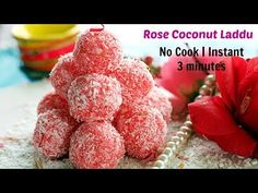 Rose Coconut Laddu is a no cook 3 minutes instant indian sweet flavoured with rose and cardamom perfect for navratri recipe or diwali recipe. Coconut Laddo