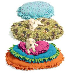 DIY pet bed... so really you just fold a blanket in half, fringe the edges  on  every side except the fold, make long enough to closely tie the knots together, stuff with anything you wish. old crib mattress, couch cushion, old pillows
