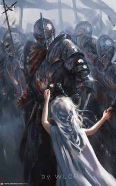 A arte de Wang Ling (wlop) Dark Fantasy Art, Fantasy Kunst, Fantasy Concept Art, Fantasy Armor, Fantasy Character Design, Medieval Fantasy, Dark Art, Character Art, Fantasy Art Warrior