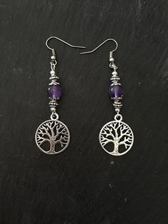 Earrings - Tree of Life - Amethyst - New Age - Wicca - Hippie - Boho - Folk - Pagan by Nattspinnas on Etsy