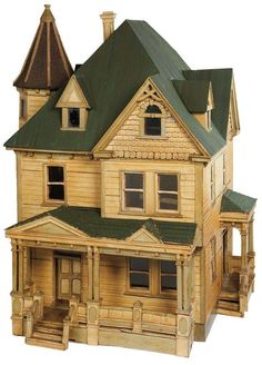 Apples - An Auction of Antique Dolls: 43 Wonderful Century Wooden Dollhouse with Porches,Tower and Gable Windows Antique Dollhouse, Wooden Dollhouse, Wooden Dolls, Dollhouse Furniture, Dollhouse Miniatures, Shingle Siding, Wood Siding, Gable Window, Popsicle Stick Houses