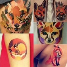 Fox watercolor tattoos on upper arms for girls | Search Unique Watercolor Tattoo
