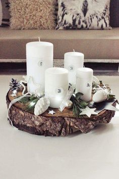 Numbered Candles With A Decorative Wooden Base