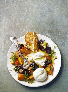 // Salt-baked beetroot with mozzarella and lemon salsa