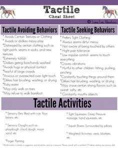 Sensory Processing Explained: Tactile cheat sheet-my son's a seeker Autism Sensory, Sensory Motor, Sensory Diet, Sensory Issues, Sensory Activities, Therapy Activities, Proprioceptive Activities, Oral Motor Activities, Sensory Rooms