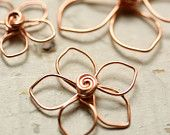 Wire Flowers Pointed Petals Solid Copper Mix Assorted - Sm, Med, Lg - Handmade Wirework Connector, Charm, or Pendant