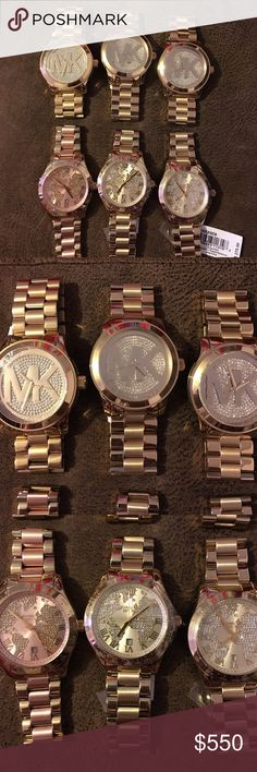 Bundle of Michael Kors watches Top row is all three the same gold tone men's watch, the bottom three are the same except the left on bottom is gold and pink and the face has pink tones inside of it! Gorgeous watches and a good deal on them I will sell separately too & if you don't like the price make an offer! All of my watches are 100% authentic I have AWESOME CUSTOMERS 😇😁 Michael Kors Accessories Watches