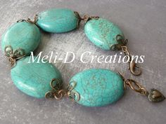 Turquoise Howlite Bracelet with copper accents