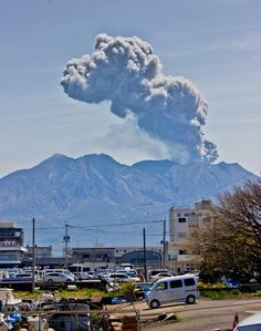 Picture of Yoshi appearing in an ash cloud from the volcano Sakura-jima in Japan.