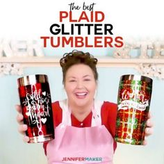 See how to make a plaid glitter tumbler using painter's tape and Mod Podge! … See how to make a plaid glitter tumbler using painter's tape and Mod Podge! This is a really fun glitter effect and looks stunning when you're done! Diy Tumblers, Custom Tumblers, Glitter Tumblers, Shilouette Cameo, Diy Mod Podge, How To Make Glitter, Glitter Cups, Glitter Art, Cup Crafts