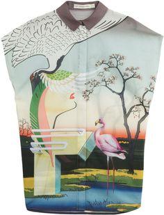 Mary Katrantzou Fenmore Sleeveless Cotton Shirt in Multicolor