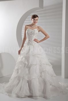 Sweetheart Unique Ivory Bridal Dresses - Order Link: http://www.theweddingdresses.com/sweetheart-unique-ivory-bridal-dresses-twdn3733.html - Embellishments: Beading; Length: Floor Length; Fabric: Organza; Waist: Natural - Price: 202.7177USD