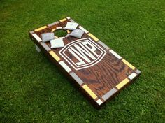 Stained wood and painted corn hole boards