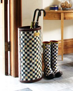 MacKenzie-Childs   Courtly Check Umbrella Stand and Boots