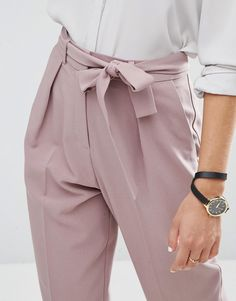 Image 3 of ASOS Woven Peg Trousers with OBI Tie