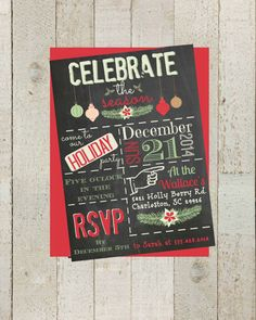 Chalkboard Holiday Party Invite Christmas by themilkandcreamco, $10.00 Chalkboard Holiday Party Invite, Christmas Party Holiday Invite, Digital File, Printable Holiday Invite