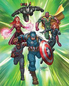 """Captain America: Road to War No. 1"" by Ron Lim  #CaptainAmerica #CivilWar #Falcon #BlackWidow #ScarletWitch #Vision #WarMachine #Marvel #Comics #Art"