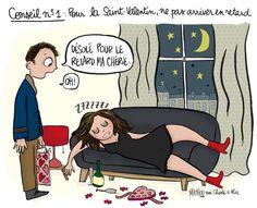 """Illustration par Crayon d'Humeur pour Charles & Alice : """"Conseil n°1 pour la Saint-Valentin : ne pas arriver en retard !"""""""