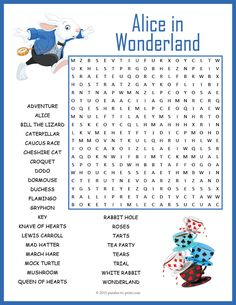 A word search puzzle to use while reading Lewis Carroll's book Alice's Adventures in Wonderland.  Kids will have fun while reviewing vocabulary and spelling.  Includes 28 words and characters.
