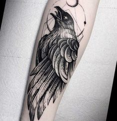 Crow Tattoo For Men, Black Crow Tattoos, Cover Up Tattoos For Men, Crow Tattoo Design, Black White Tattoos, Forearm Tattoo Men, Tattoo Designs Men, Tattoos For Guys, Forarm Tattoos