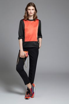 Paule Ka | Pre-Fall 2015 | 11 Grey/orange 3/4 sleeve top and black cropped trousers