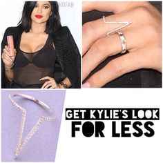 the look: Kylie Jenner. Shop our Pave Crystal Deep V Ring to get Kylie ...