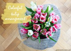 Colorful tulip arrangement for your home. Some Ideas, Tulips, Flower Arrangements, Colorful, Table Decorations, Tableware, Flowers, Home Decor, Art