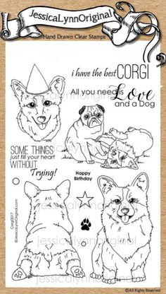 JessicaLynnOriginal AKC Dog : Corgi 2017 with Pug Friend Clear Rubber Stamp Set 4x6 - JessicaLynnOriginal, LLC