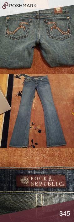 Rock & Republic Kasandra boot cut jeans sz 27 Kasandra boot cut jeans in EUC. Cool R embroidery on back pockets. Aporox measurements waist 30 inseam 34 hip 38. Rock & Republic Jeans