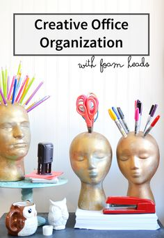 Office organization using foam heads from FloraCraft | tutorial #organization #crafts #MakeitFunCrafts