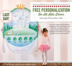 LAST DAY! Free Personalization on Kids Decor, Table Lamps, Stretched Canvas Art, Night Lights, Growth Charts, Wall Decals, Murals, and more!