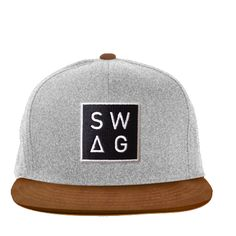 "The UK's J x C Originals ""Swag"" snapback in grey wool and brown suede. $50.00"