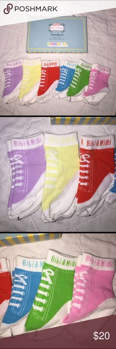 Sneaker Designed Socks 6 Pairs Bibi & Mimi New Super Cute Sneaker Designed Socks by Bibi & Mimi New with box. purple, yellow, red, blue, green, and pink. Size 0-12 months. These are just simply adorable! bibi & mimi Accessories Socks & Tights